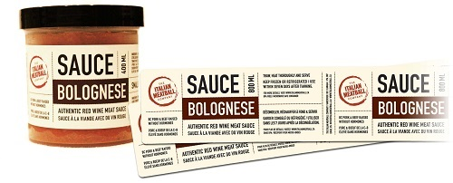 Sauce Bolognese Label Printing by Glenwood Label Printing & Packaging